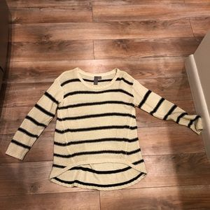 Francescas nude and black striped high low sweater